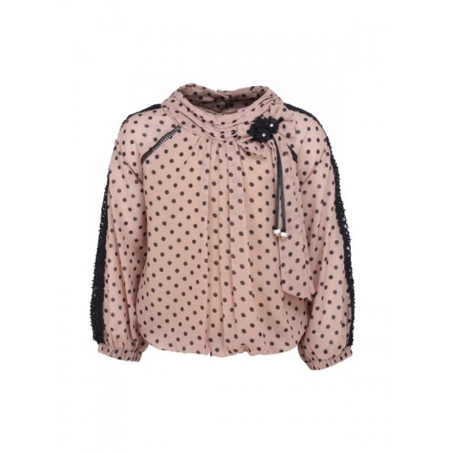 CUTECUMBER Girls Beige & Black Printed Blouson Top