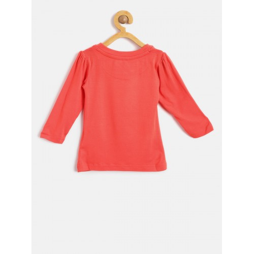 Palm Tree Girls Coral Red Printed Round Neck T-shirt