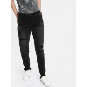 a258f77063f AMERICAN EAGLE OUTFITTERS Women Black Regular Low-Rise Mildly Distressed  Stretchable Jeans