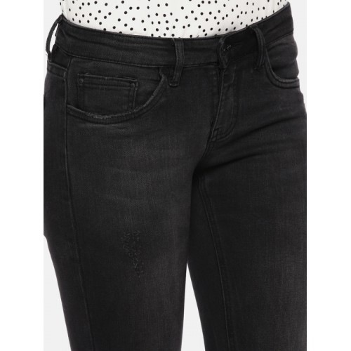 Deal Jeans Women Black Slim Fit Mid-Rise Clean Look Stretchable Jeans