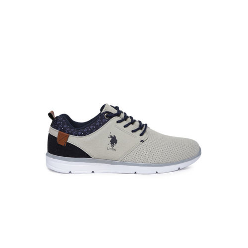 U.S. Polo Assn. Men Grey Perforated & Printed Suede Baise Sneakers