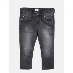 Lee Cooper Girls Black Slim Fit Mid-Rise Stretchable Jeans