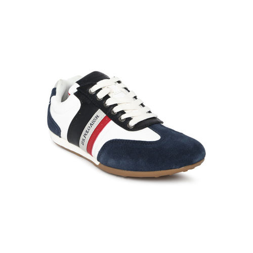 U.S. Polo Assn. Men White & Navy Blue Nevil Colourblocked Sneakers