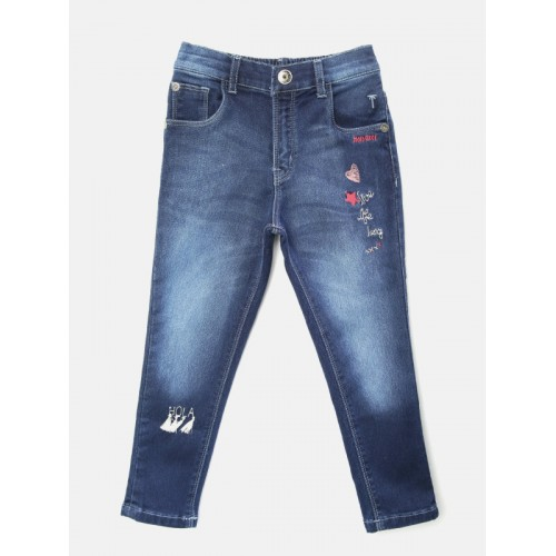 Palm Tree Girls Navy Blue Slim Fit Mid-Rise Clean Look Stretchable Jeans
