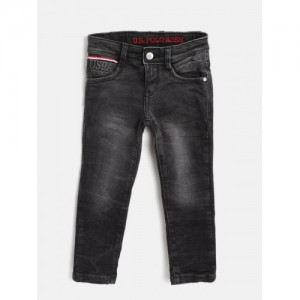 d3b47e62c U.S. Polo Assn. Kids Boys Black Skinny Fit Mid-Rise Clean Look Stretchable  Jeans