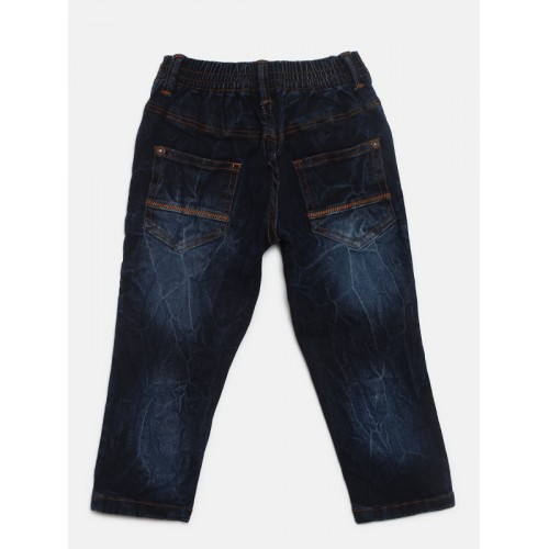 Palm Tree Boys Navy Blue Regular Fit Mid-Rise Clean Look Stretchable Jeans