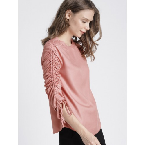 Chemistry Women Peach-Coloured Solid Top