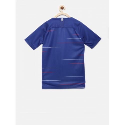 Nike Unisex Blue Striped CFC Y BRT STAD SS HM V-Neck T-shirt