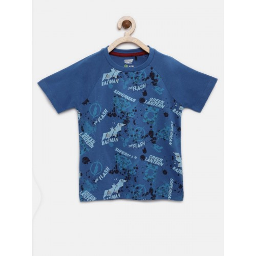 YK Justice League Boys Blue Printed Round Neck T-shirt