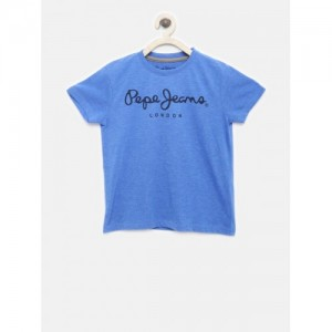 Pepe Jeans Boys Blue Solid Round Neck T-shirt