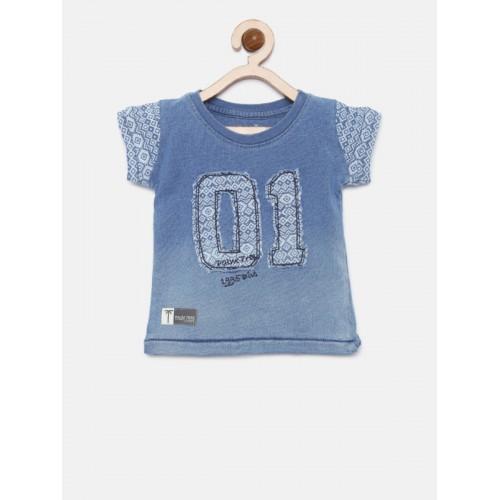 Palm Tree Boys Blue Aplique Round Neck T-shirt