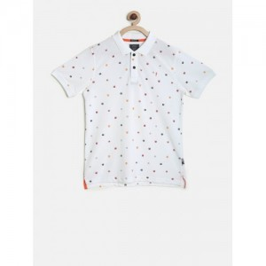 Indian Terrain Boys White Printed Polo Collar T-shirt