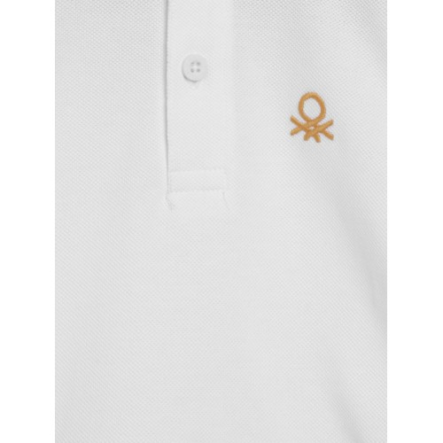 United Colors of Benetton Boys White Solid Polo Collar T-shirt