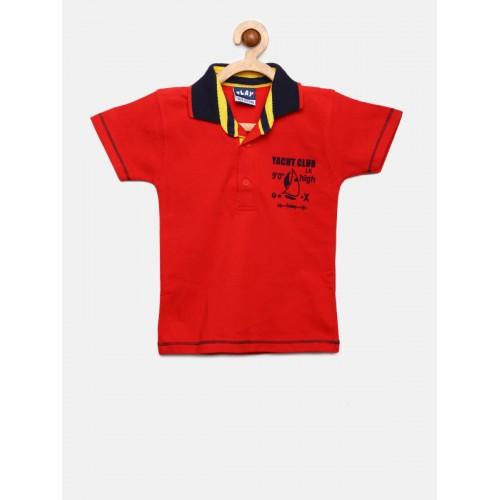 Little Kangaroos Boys Red Solid Polo Collar T-shirt