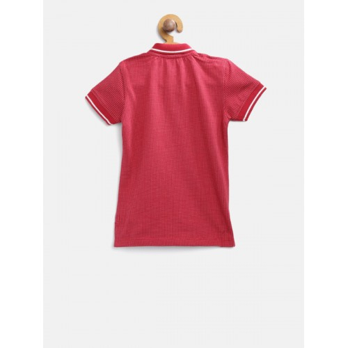 United Colors of Benetton Boys Red Self Design Polo Collar T-shirt