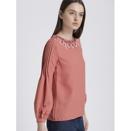 Chemistry Women Pink Solid Top