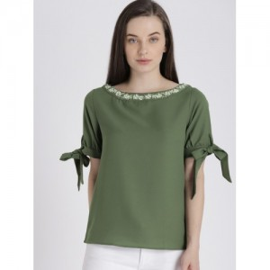 fafff02a1f Buy CODE by Lifestyle Women Olive Green Solid Top online