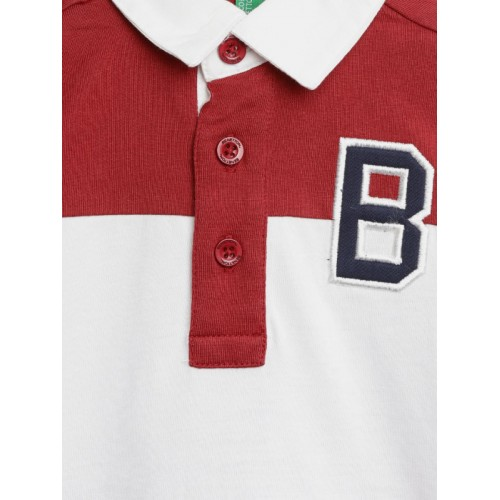 United Colors of Benetton Boys Maroon & White Colourblocked T-Shirt