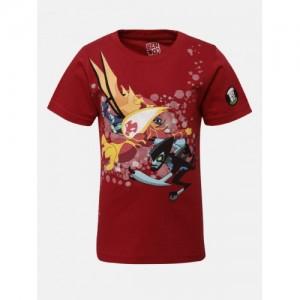 YK Ben10 Boys Maroon Ben10 Round Neck T-shirt
