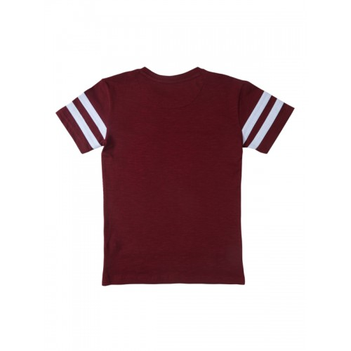 Palm Tree Boys Maroon Printed Round Neck T-shirt