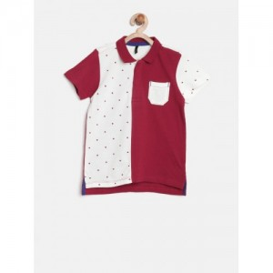United Colors of Benetton Boys Maroon Colourblocked Polo Collar T-shirt