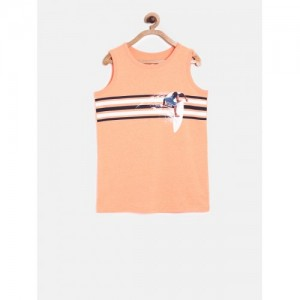 The Childrens Place Boys Peach-Coloured Striped Round Neck T-shirt