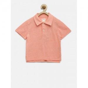 The Childrens Place Boys Peach-Coloured Self-Design Polo Collar T-shirt