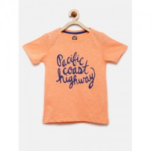 YK Boys Peach-Coloured Printed Round Neck T-shirt