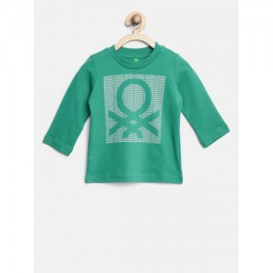 United Colors of Benetton Boys Green Printed Round Neck T-shirt