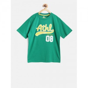 612 league Boys Green Applique Round Neck T-shirt