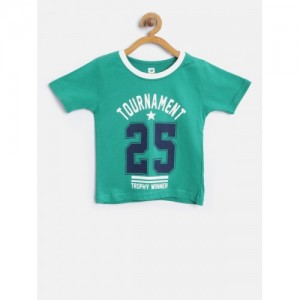 612 league Boys Green Printed Round Neck T-shirt