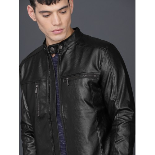 WROGN Men Black Solid Biker Jacket