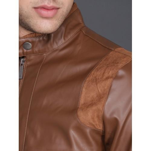 WROGN Brown Solid Biker Jacket