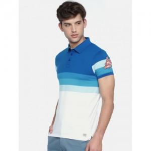 Jack & Jones Men Blue & White Colourblocked Polo Collar T-shirt