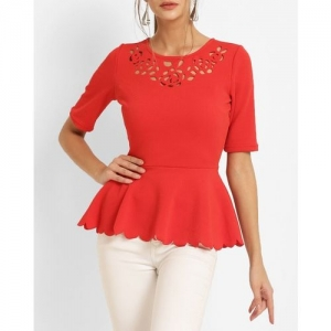 Harpa Women Red Solid Peplum Top