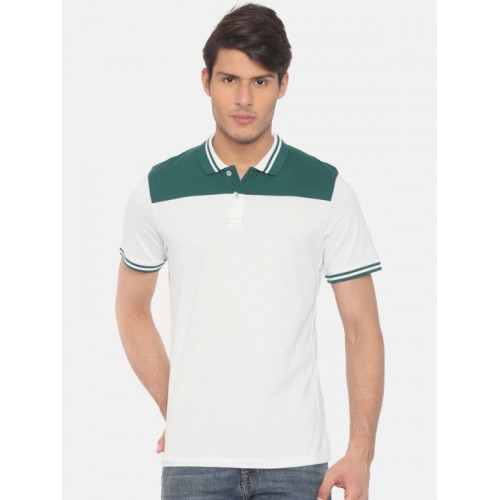 Jack & Jones Men White Solid Slim Fit Polo Collar T-shirt
