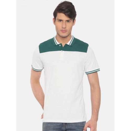 Jack & Jones Men White Solid Slim Fit Polo Collar T-shirt
