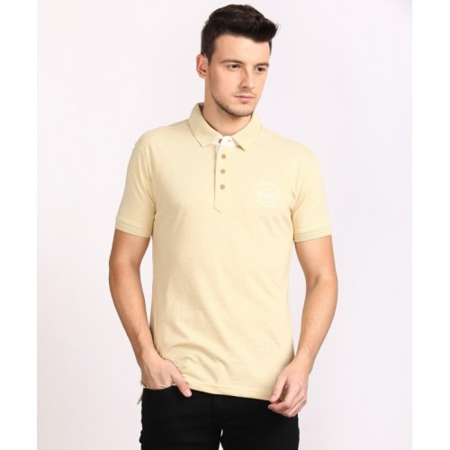 John Players Solid Men's Polo Neck Beige T-Shirt