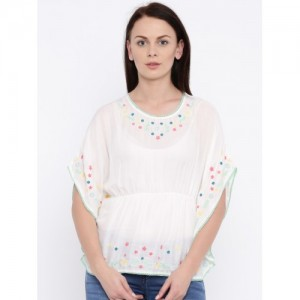 Pepe Jeans White Embroidered Semi-Sheer Kaftan Top
