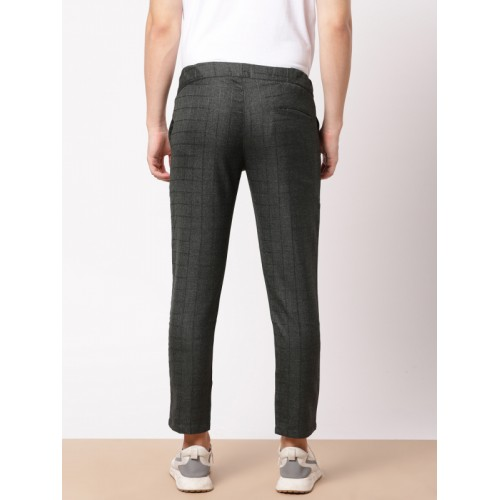 ether Men Charcoal Grey Self Design Slim Fit Ankle-Length Trousers