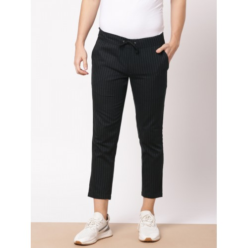 ether Men Black & Grey Slim Fit Striped Cropped Trousers