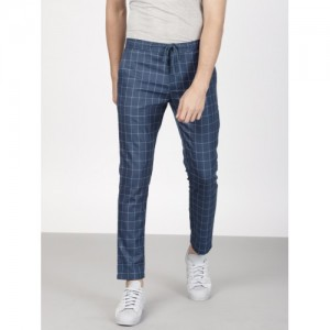 ether Men Blue Slim Fit Checked Cropped Trousers