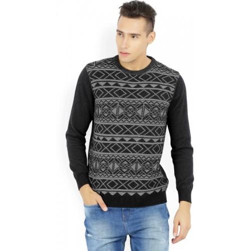 Wrangler Self Design Round Neck Casual Men's Black, Grey Sweater