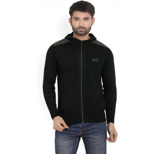 Wrangler Solid Turtle Neck Casual Men's Black Sweater