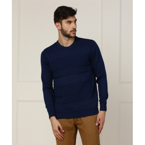 Wrangler Solid Round Neck Casual Men's Blue Sweater