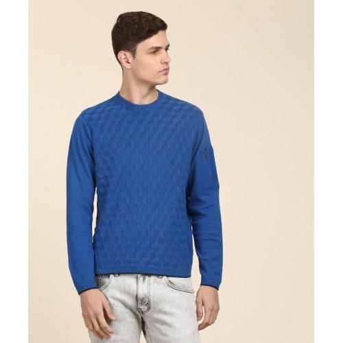 Wrangler Self Design Round Neck Casual Men's Blue Sweater