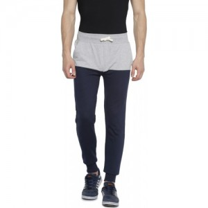Campus Sutra Solid Men Blue Track Pants