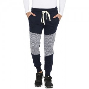Campus Sutra Striped Men Blue Track Pants