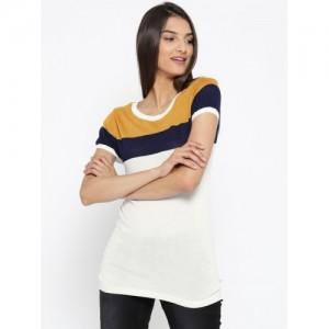 United Colors of Benetton White Colourblocked Striped Top 4e6504139