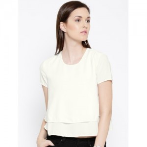 United Colors of Benetton Women White Layered Top